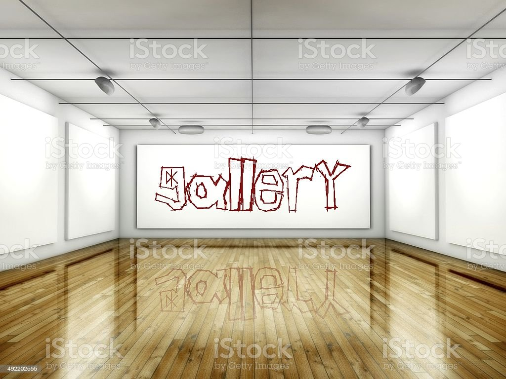 Gallery concept interior with wall paintings stock photo