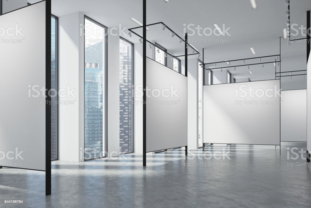 Gallery in a loft stock photo