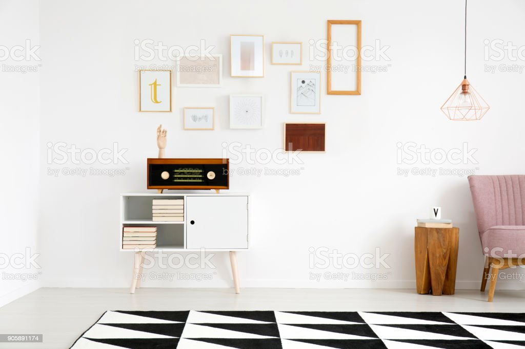 Gallery in living room interior stock photo
