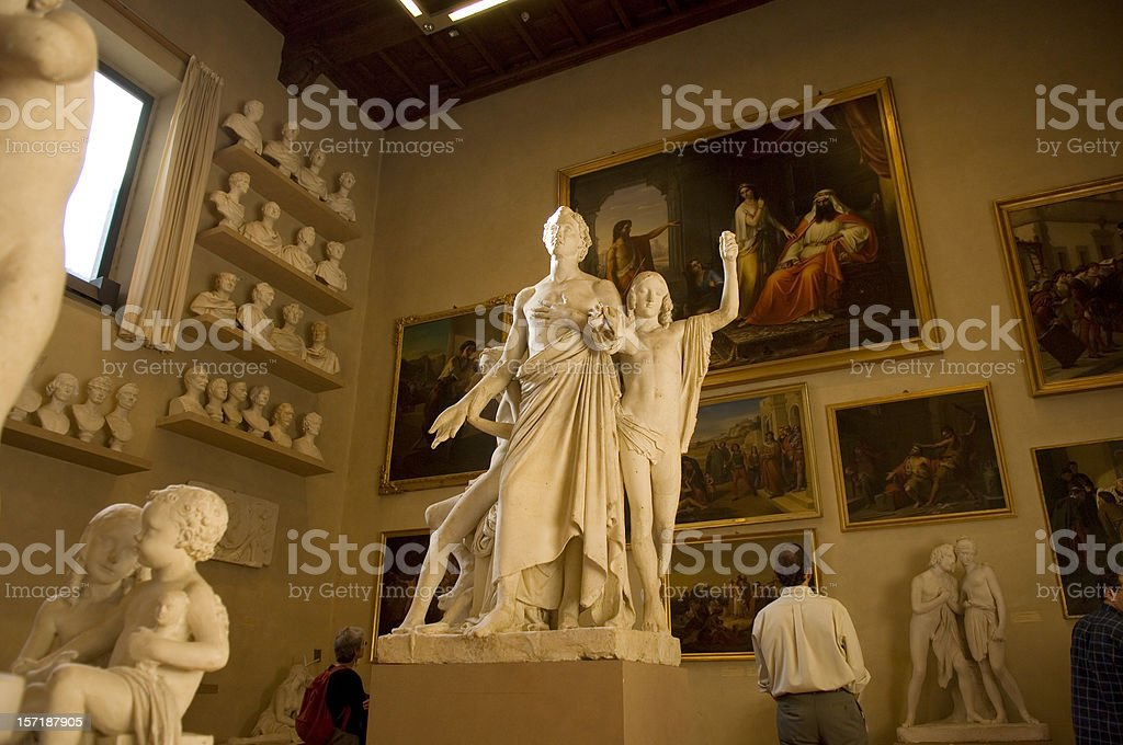 gallery in the Accademia, Florence, Italy royalty-free stock photo