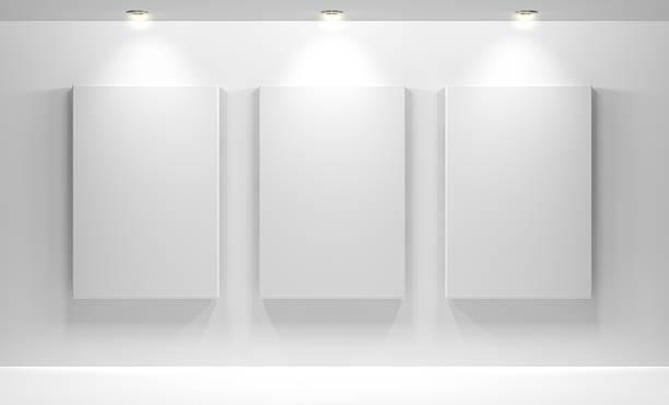 interior de la galería con vacío - art gallery fotografías e imágenes de stock