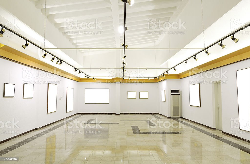 Gallery of blank canvases royalty-free stock photo