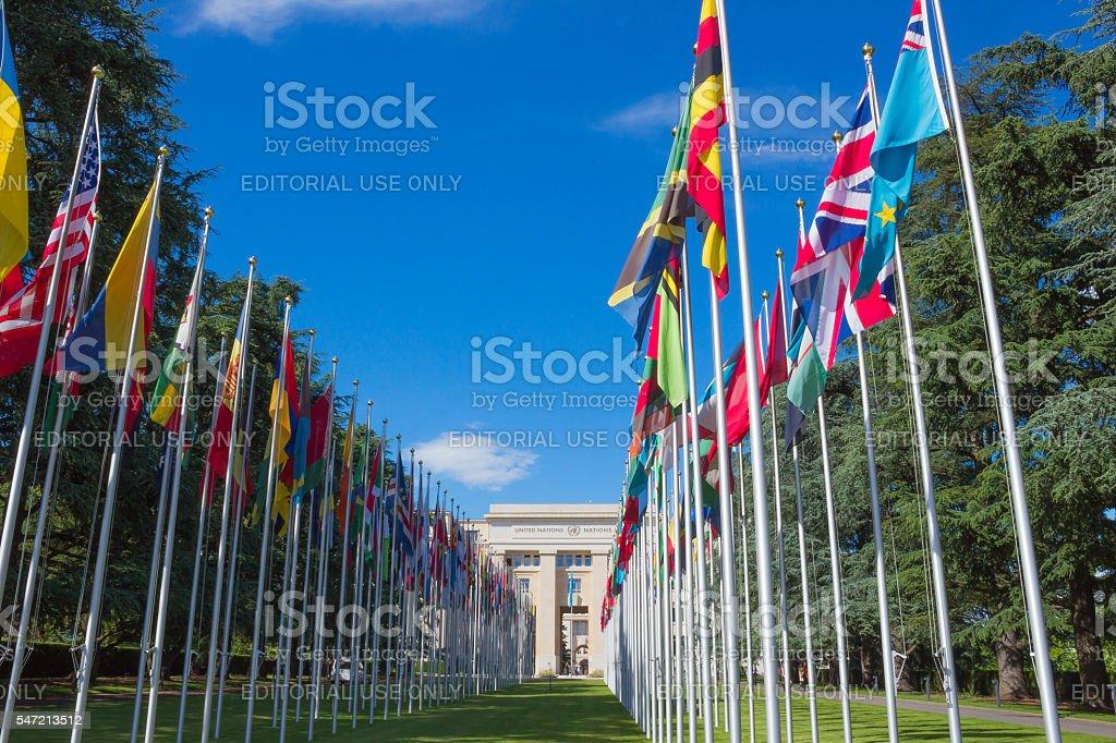Geneva, Switzerland - June 17, 2016: Gallery of national flags stock photo