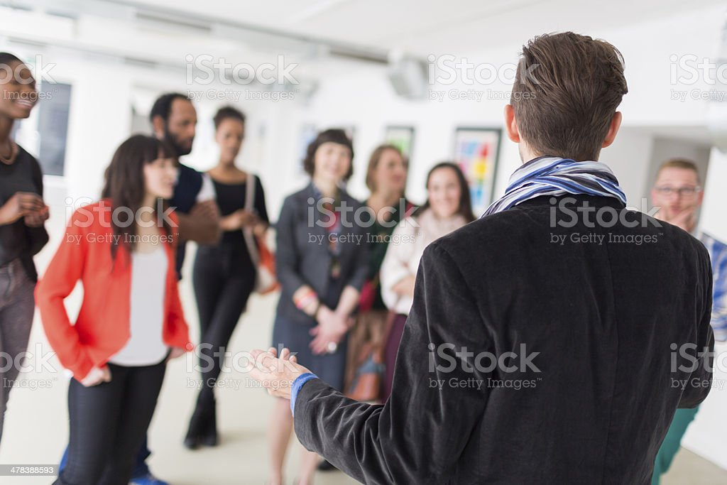 Gallery Owner During Opening stock photo