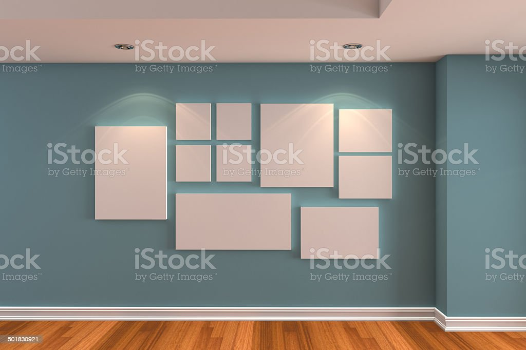 Gallery The picture on the blue wall stock photo