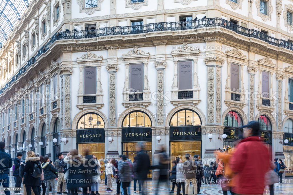 Gallery Vittorio Emanuele Ii And Versace Shop In Milan Center Italy Stock Photo Download Image Now Istock