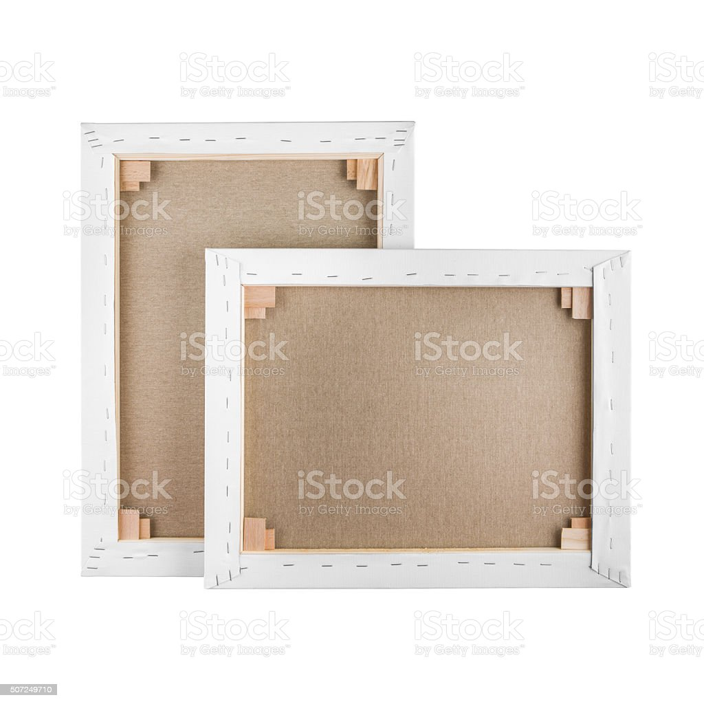 Gallery wrapped blank canvas on wooden frame - stretcher bar stock photo