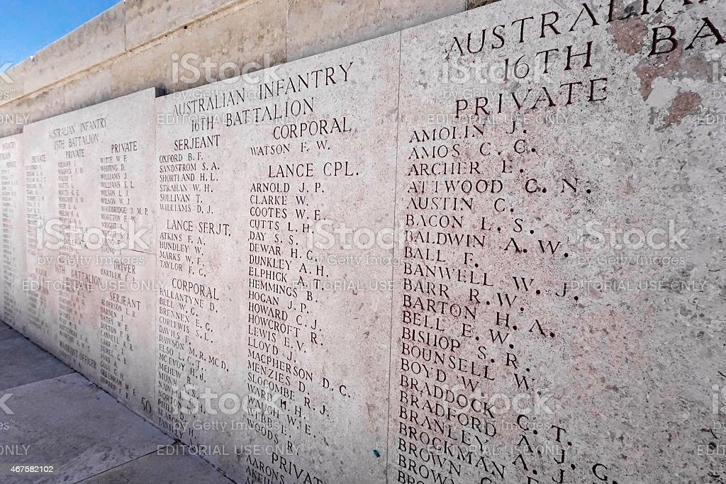 Gallipoli List of Names stock photo
