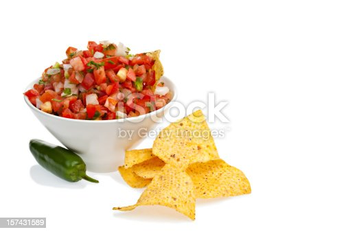 A bowl of Pico de gallo salsa and chips on a white background.