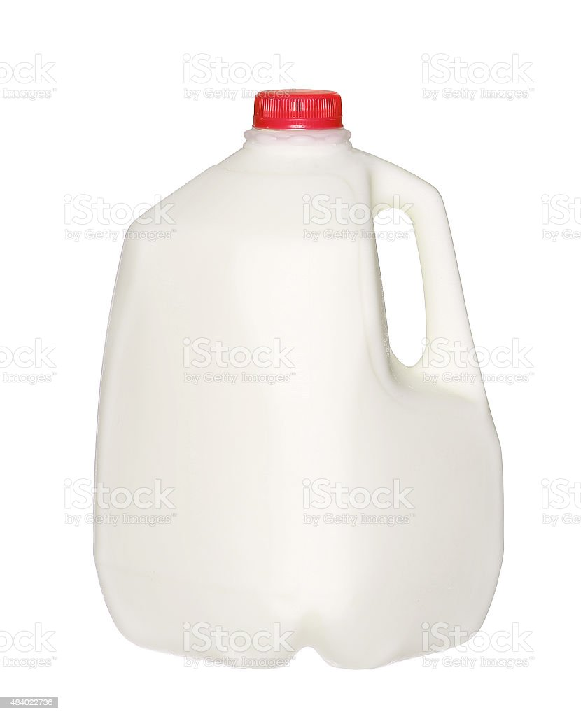 gallon Milk Bottle with Red Cap Isolated on White stock photo