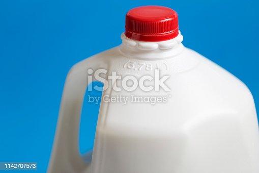 Close-up of part of a gallon or 3.78 L whole milk jug.
