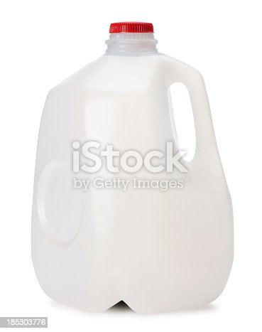 This is a photo of a gallon of Milk isolated on a white background.Click on the links below to view lightboxes.