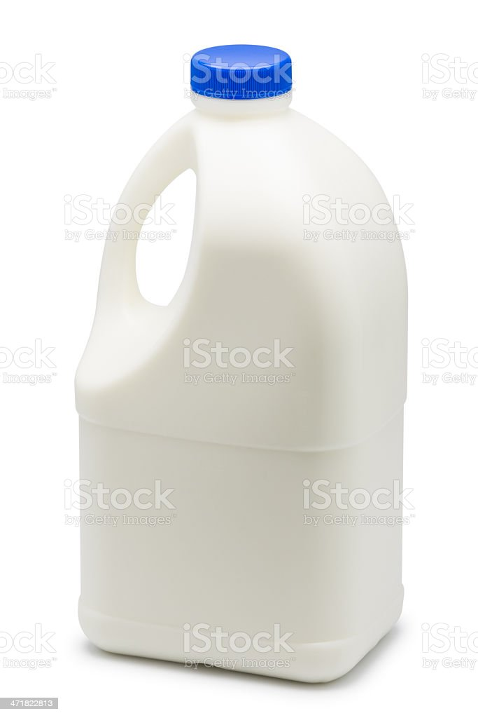 Gallon of milk with blue cap on top stock photo
