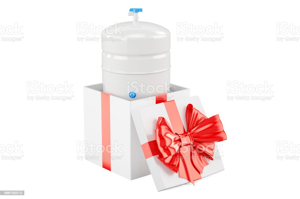 Gallon storage tank from reverse osmosis system inside gift box, gift concept. 3D rendering vector art illustration