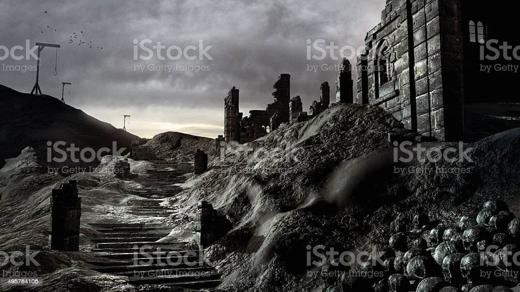 Gallows and castle ruins stock photo