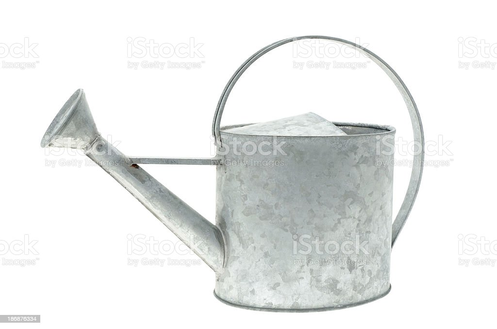Galvanised metal watering can stock photo