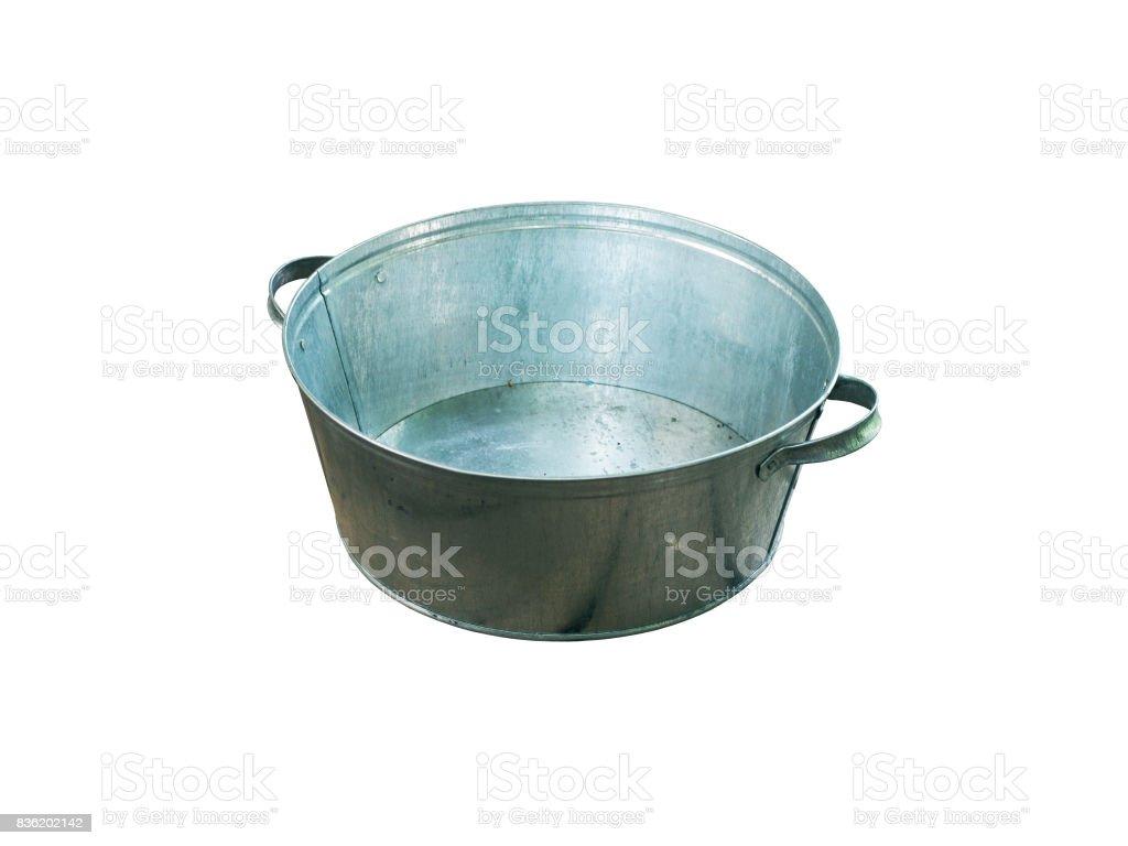 Galvanized aluminum basin isolated on white background. stock photo