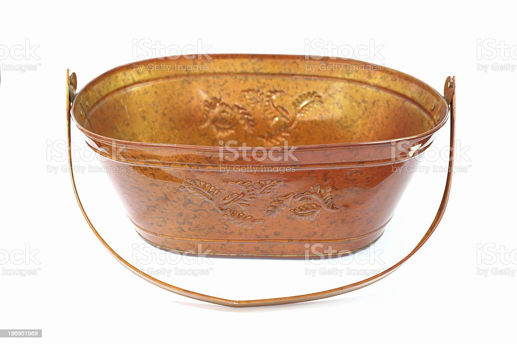 Galvanized bucket isolated white background royalty-free stock photo