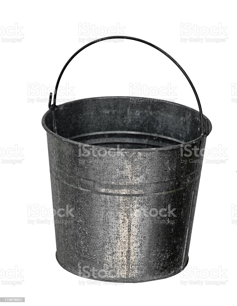 Galvanized Bucket with Clipping Path royalty-free stock photo