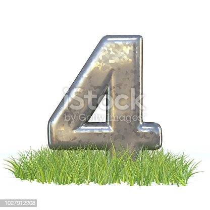 istock Galvanized metal font Number FOUR 4 in grass 3D 1027912208