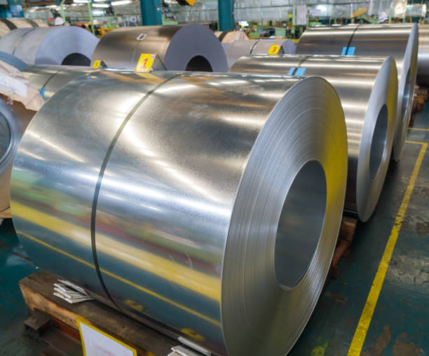 Galvanized rolled steel sheet in factory warehouse stock photo