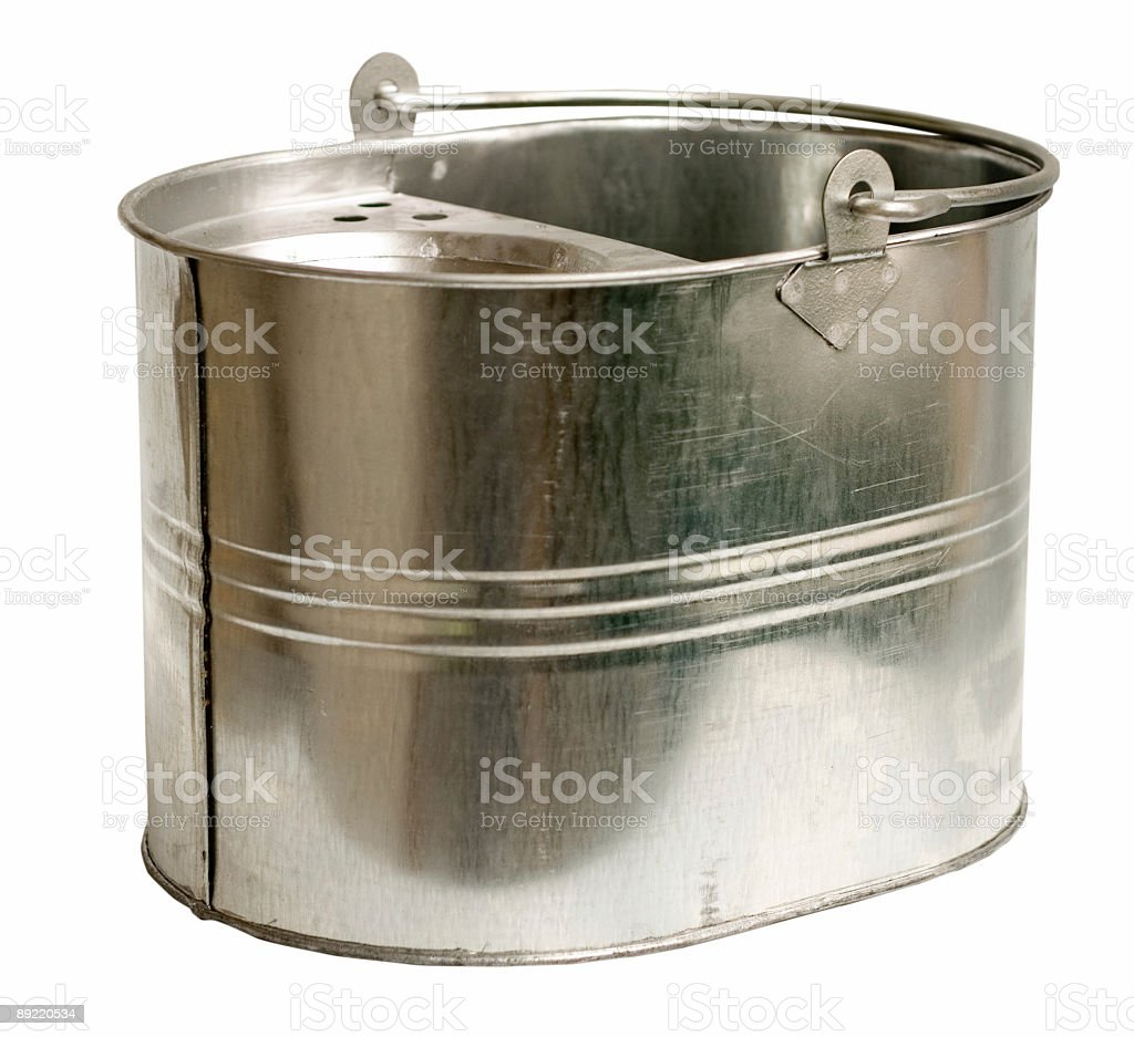 Galvanized Steel Bucket (Inc Clipping Path) stock photo