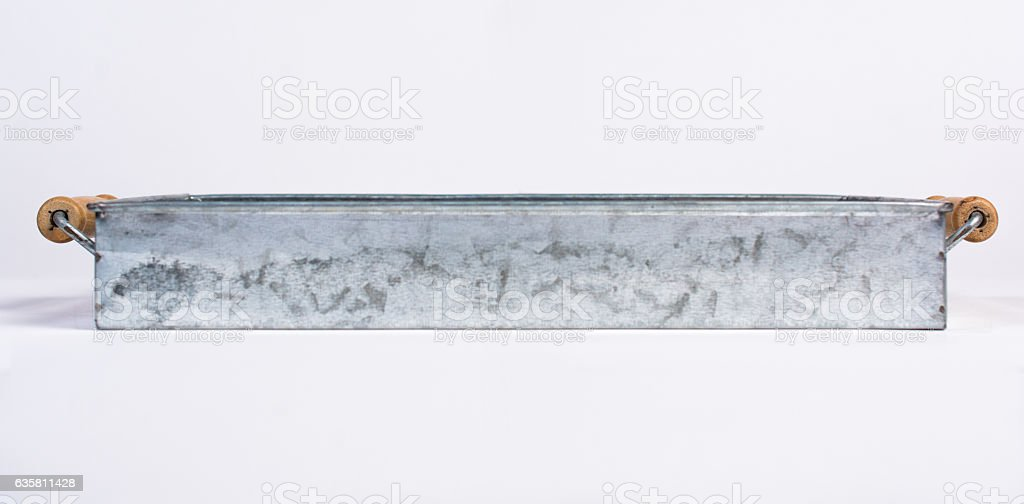Galvanized Tin Box with Wooden Handles Isolated on White Front stock photo