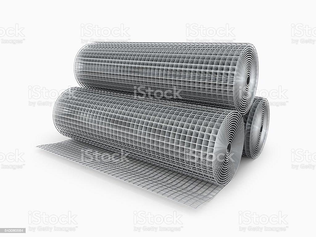Galvanized welded wire mesh twisted stock photo