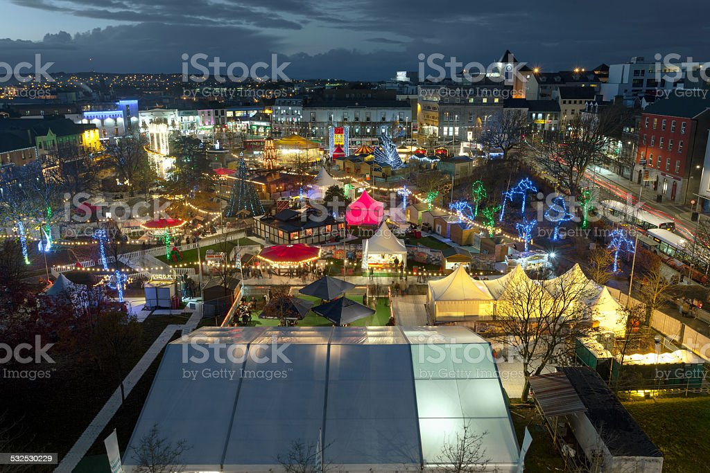 Galway Christmas Market at night stock photo