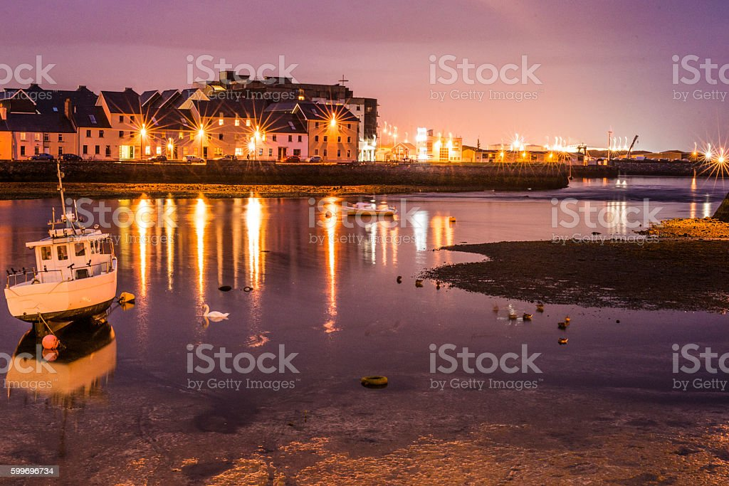 Galway city at night stock photo