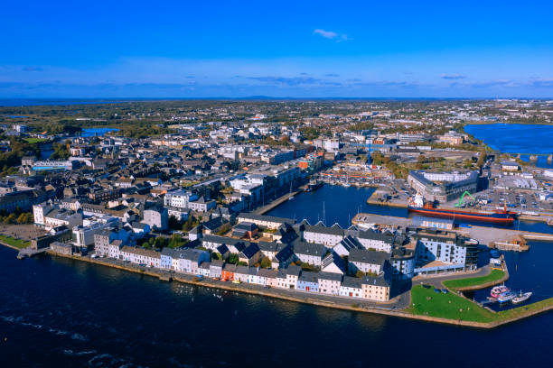 Galway cityscape aerial view Ireland stock photo