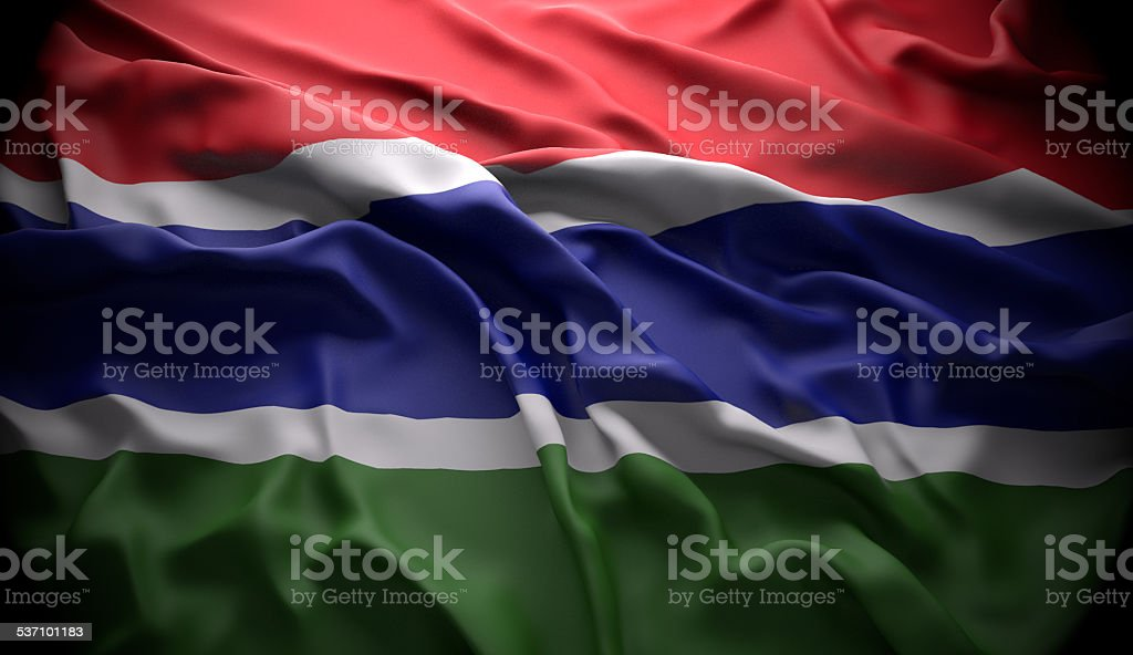 Gambia, Banjul national official state flag stock photo