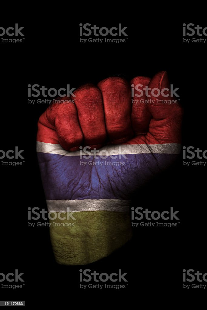 Gambia Flag Fist royalty-free stock photo