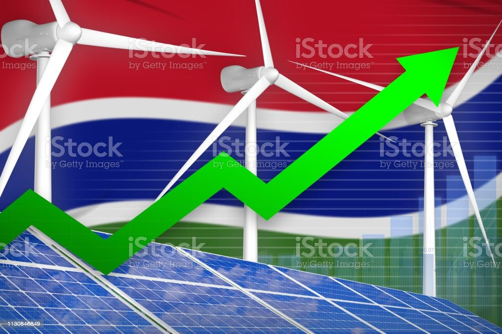 Gambia solar and wind energy rising chart, arrow up - green natural energy industrial illustration. 3D Illustration stock photo