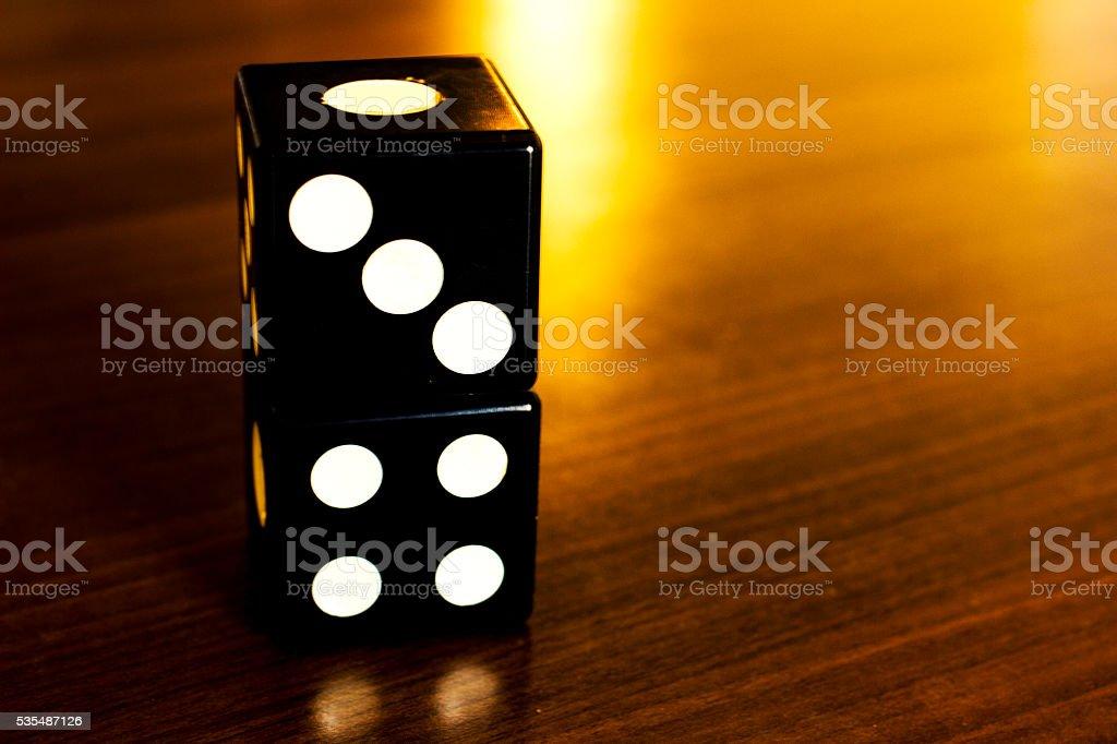 Gamble dice - black pair stock photo