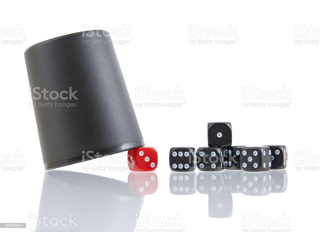 Gambling background with dice and cup stock photo