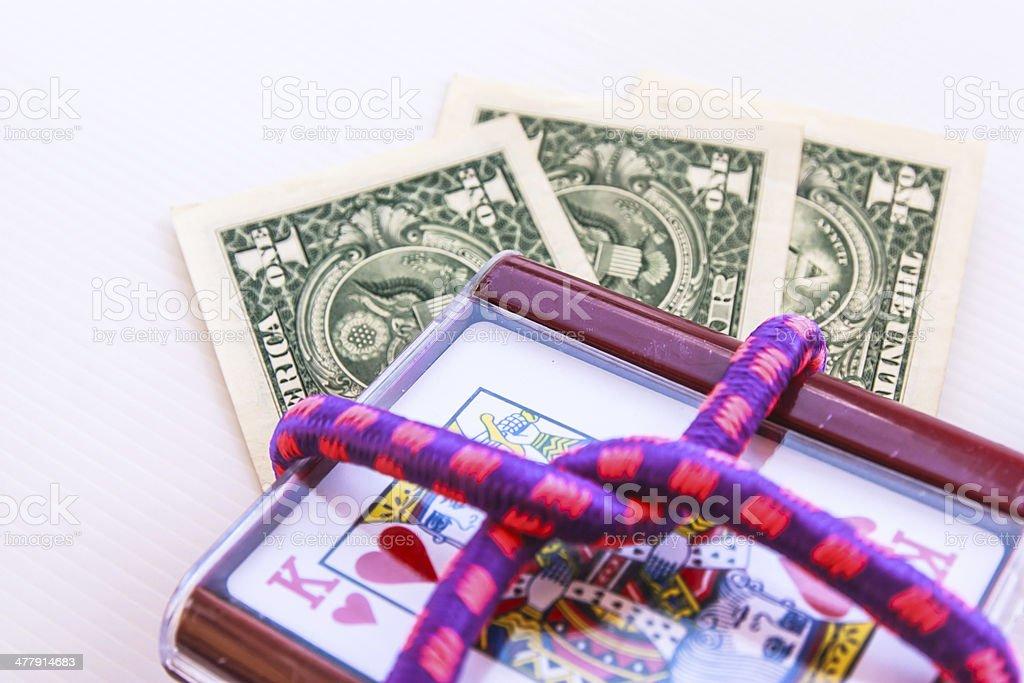 Gambling card and money royalty-free stock photo