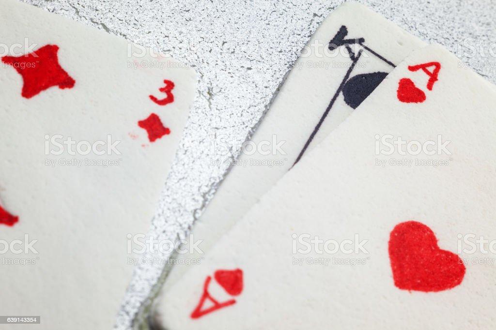 Gambling Cards Made of Fondant stock photo