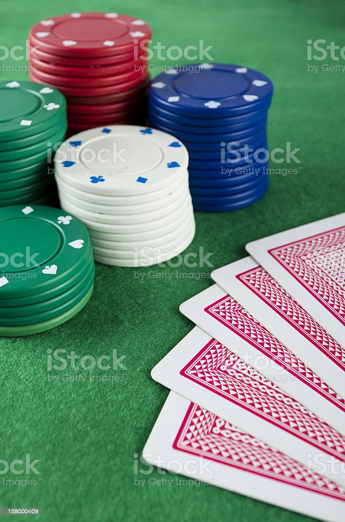 Gambling Chips and Cards stock photo