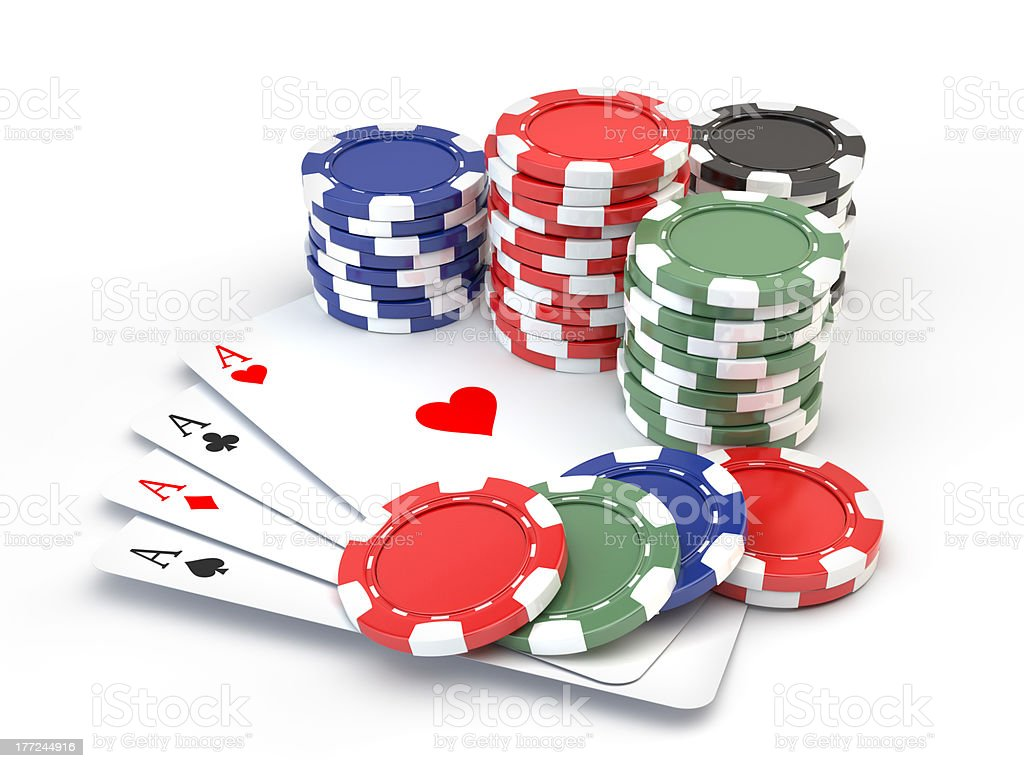 Gambling chips and four ace stock photo