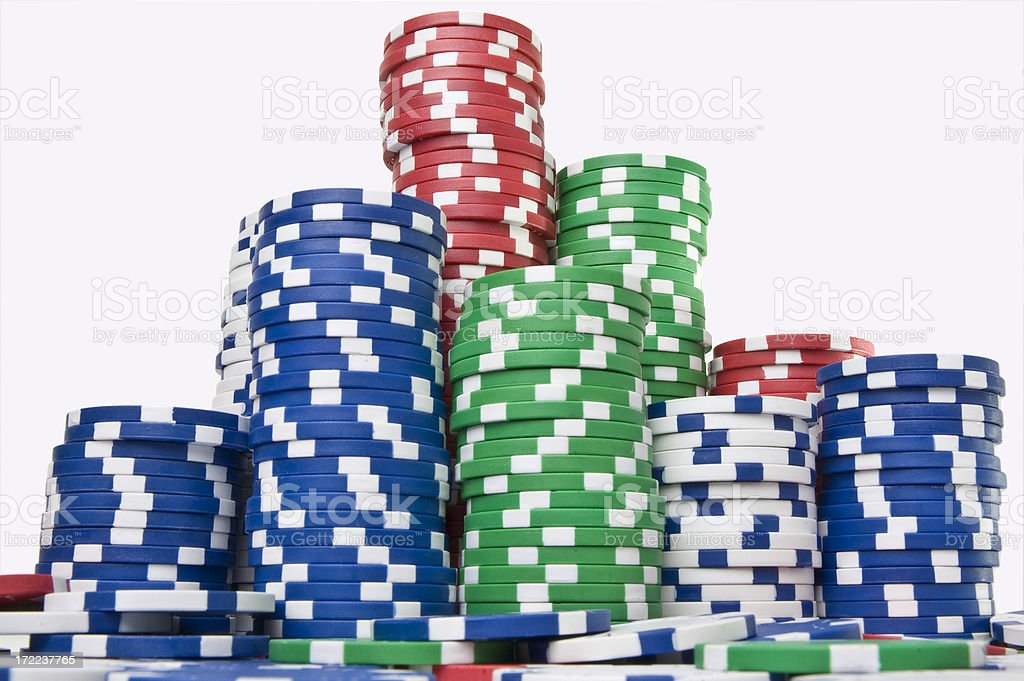 Gambling chips over white royalty-free stock photo