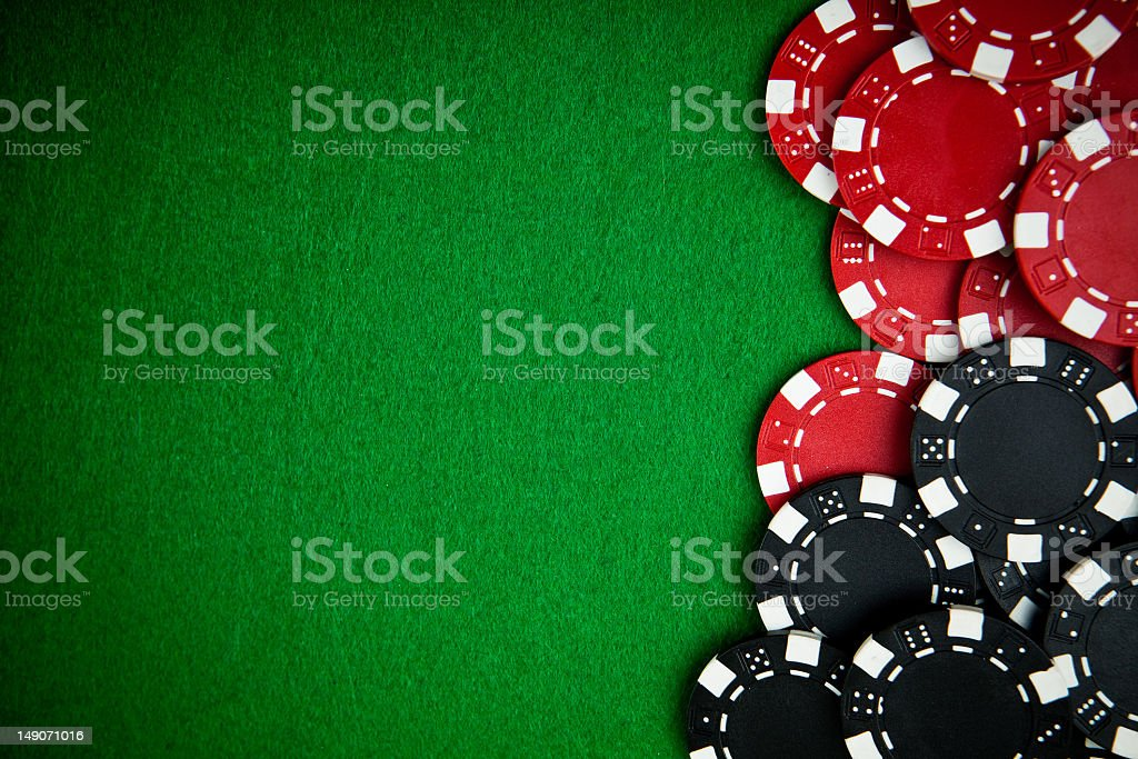 Gambling chips with copy space stock photo