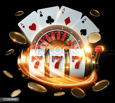 Slot Machine, Roulette Wheel And Four Aces With Golden Coins 3D Rendering