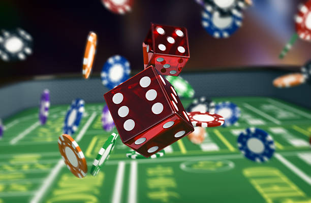 gambling, craps game close up view of a craps table with dices and fiches (3d render) game of chance stock pictures, royalty-free photos & images