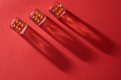 gambling dices on the red background