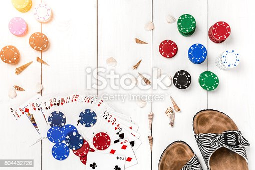 istock Gambling. Poker chips, cards and slippers on white wooden table. Top view. Copyspace. Poker 804432726