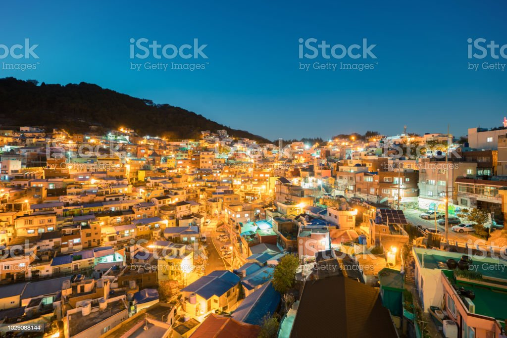 Gamcheon Culture Village At Night In Busan South Korea Stock Photo