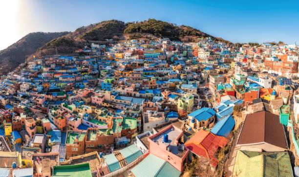 甘川文化村美しい色、釜山、韓国 - 釜山 ストックフォトと画像