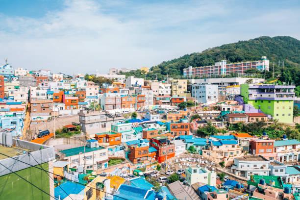 韓国・釜山の甘川文化村パノラマ ビュー - 釜山 ストックフォトと画像