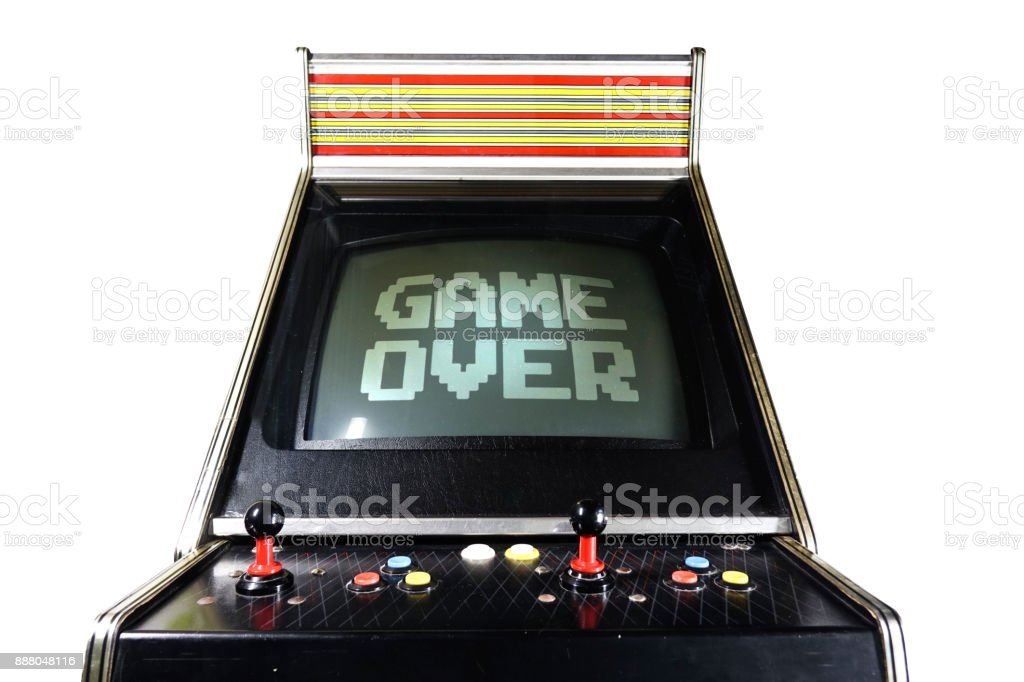 Game Arcade Game Over writing stock photo